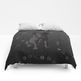 Black Labrador Retriever Paw Prints Comforters