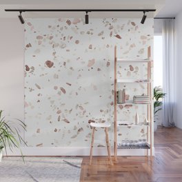 Rose Gold on White Terrazzo Wall Mural