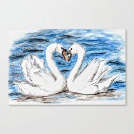 Love Bird Swans, Anne Hockenberry Canvas Print