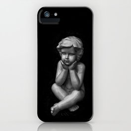 White sculpture of a small boy iPhone Case