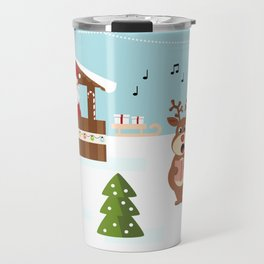 Christmas market cartoon illustration with Santa Claus behind the stand Travel Mug
