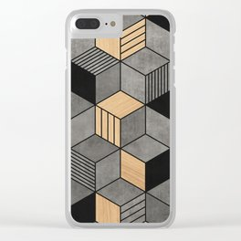 Concrete and Wood Cubes 2 Clear iPhone Case