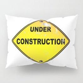 Yellow Under Construction Sign Pillow Sham