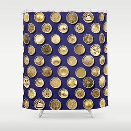 Gold Buttons Pattern Shower Curtain