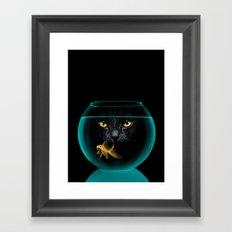 Black Cat Goldfish II Framed Art Print
