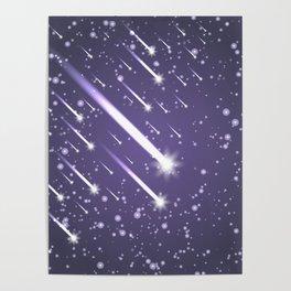 Flying meteors. Ultra violet. Poster