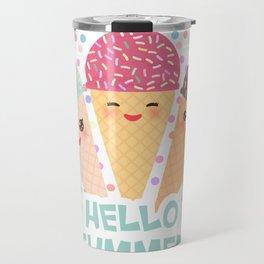 Hello Summer Kawaii Ice cream waffle cone Travel Mug