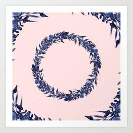Dawn of Flowers, Blue Willow. Art Print