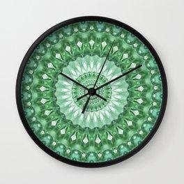Emerald Green Mandala Wall Clock