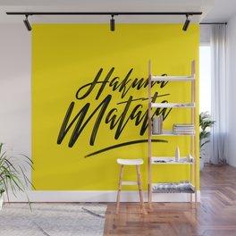 Hakuna Matata (Black on Yellow) Wall Mural