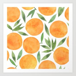 Watercolor hand painted pattern oranges and leaves Art Print
