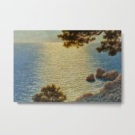 Classical Masterpiece 'Amalfi Coast, Italy' by Ivan Fedorovich Choultse Metal Print