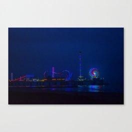 Galveston Pleasure Pier At Night Canvas Print