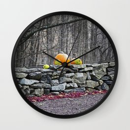 Pumpkins on a Stone Wall Wall Clock