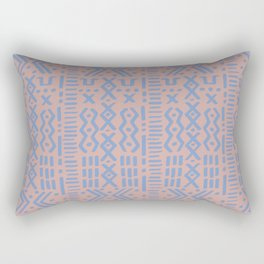 Mudcloth No. 1 in Blush + Dusty Blue Rectangular Pillow