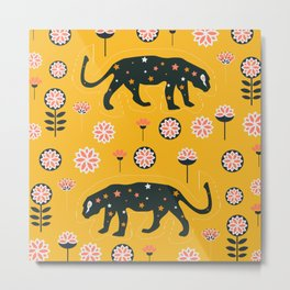 Fantastic jaguars and flowers Metal Print