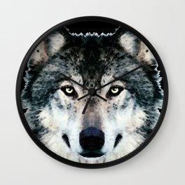 Wolf Art - Timber by Sharon Cummings Wall Clock