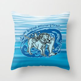 (v2) Swim Beyond Misconceptions Throw Pillow