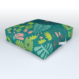 Whimsical flowers - green, pink and yellow Outdoor Floor Cushion