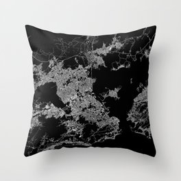 Rio map Brazil Throw Pillow