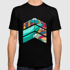 River in the mountains SMALL Mens Fitted Tee Black
