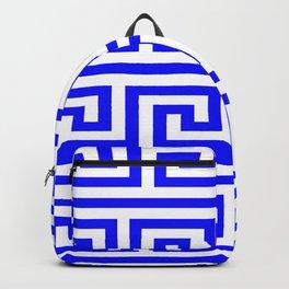 Cobalt Blue Greek Key Pattern Backpack
