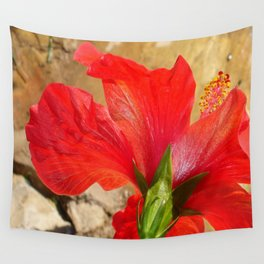 Back Of A Red Hibiscus Flower Against Stone Wall Tapestry