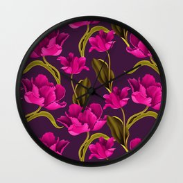 Bold & Bright Hot Pink Colored Parrot Tulip Flowers on Dark Background Wall Clock