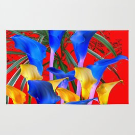 YELLOW & AZURE BLUE CALLA LILIES RED ART Rug