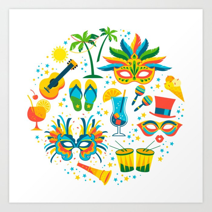 Colorful Brazilian Carnaval Mandala Art Print By Artonwear