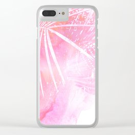 Abstract Pink Palm Tree Leaves Design Clear iPhone Case