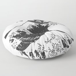 Samurai Surfing The Great Wave off Kanagawa Floor Pillow
