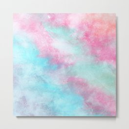 Artistic pastel girly pink teal trendy watercolor Metal Print