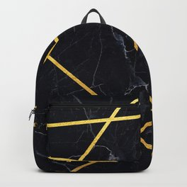 Black marble with gold lines Backpack