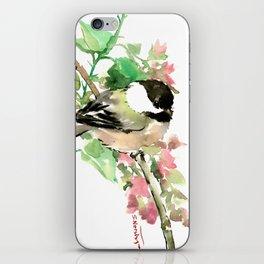 Chickadee and spring blossom iPhone Skin