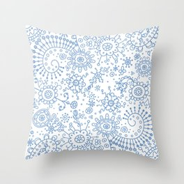 Graphic Ink Doodles (periwinkle) Throw Pillow