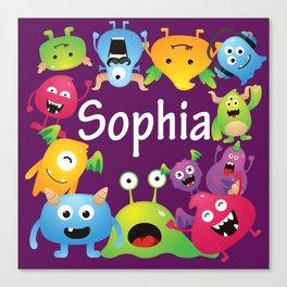 Cute & lovely monsters - Sophia (purple background) Canvas Print