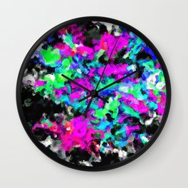 psychedelic splash painting abstract texture in pink purple blue green black Wall Clock