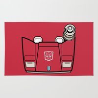 transformers Area & Throw Rugs featuring Transformers - Sideswipe by CaptainLaserBeam