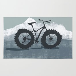Fat bike in the mountains Rug