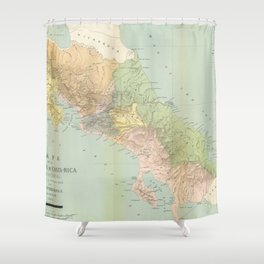 Vintage Map of Costa Rica (1889) Shower Curtain