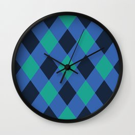 Green and blue checkered Wall Clock