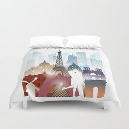 Paris city skyline, France Duvet Cover