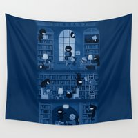humor Wall Tapestries featuring Silence in the Library by Anna-Maria Jung