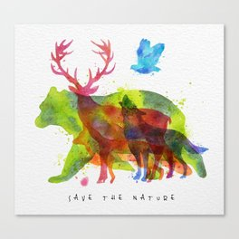 Watercolor animals save the nature Canvas Print