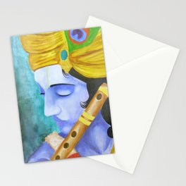 lord krishna painting yellow blue Stationery Cards