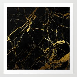 Black-Gold Marble Impress Art Print
