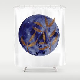 Watercolor Gold Leaves on Indigo Circle Shower Curtain