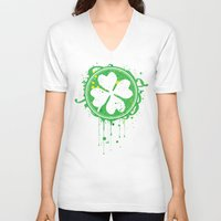 clover V-neck T-shirts featuring Patrick's clover by Sitchko Igor
