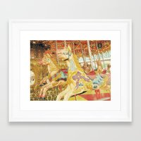 carousel Framed Art Prints featuring Carousel Horse by Whimsy Romance & Fun